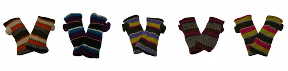Hand knit 100% wool Stripe Hand warmers Winter Fleece Lined Cosy Multicoloured Gloves One Size P1- P5