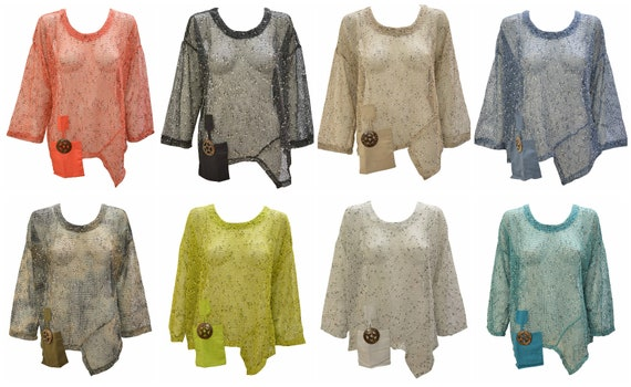 Womens Knit Crochet Top Boho Mesh Cover up Pocket Shrug Free Size Up To 20