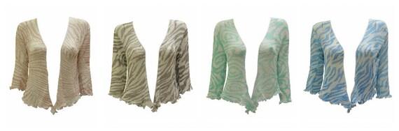 Plus Size Boho chic Shrug Crochet Style Abstract Stripe Knit Cardigan onesize  14 16 18 20