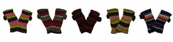 Hand knit 100% wool Stripe Hand warmers Winter Fleece Lined Cosy Multicoloured Gloves One Size P6- p10