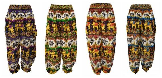 Womens Hippie Lounge Pants Elephant Damask Print Yoga Harem Loose Trousers Freesize 8-20
