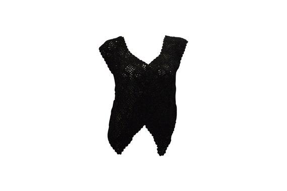 Boho hippie crochet vintage style knitted upcycled sleeveless waistcoat black freesize up to size 16