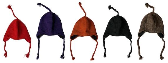 Handmade knit 100% wool Hat Unisex Adults Bobble Tassel Plain hippie warm fleece lined Winter Cap