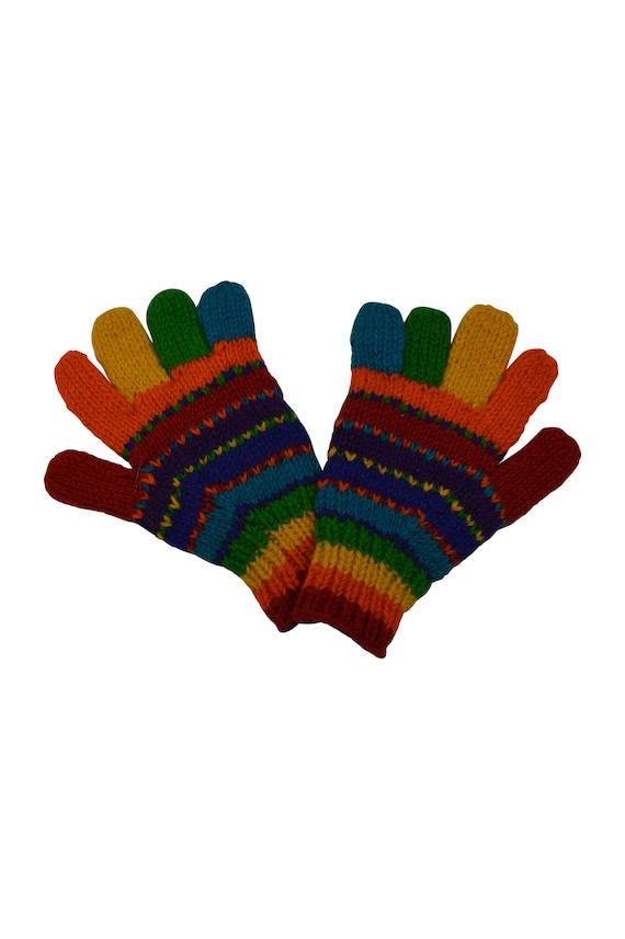 Handmade 100% Wool Knit Gloves Stripe Warm Cosy Fleece Lined Hand warmers  Rainbow