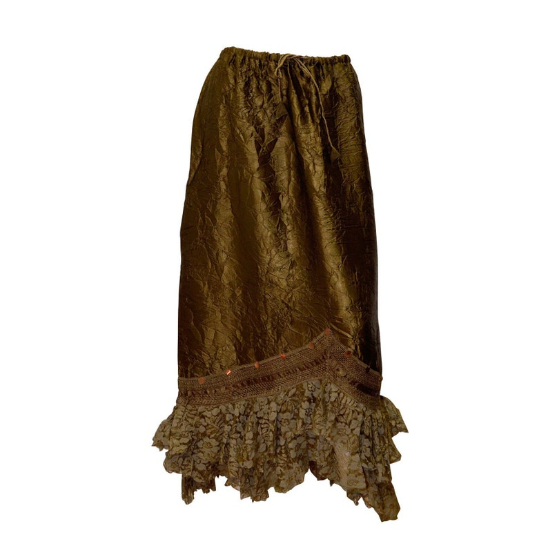 Freesize boho hippie faux Indian crushed silk floral lace hem skirts size 8-18