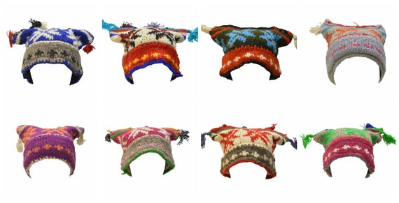 Handmade Knit 100% wool Boho Beanie Multi Tassel Warm Fleece Lined  Hippie Winter Hat P18-P25