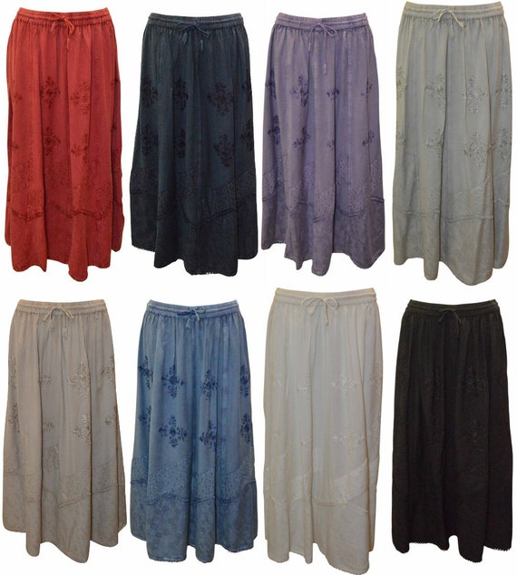 Free Size boho hippie embroidered gypsy midi skirt 10-22