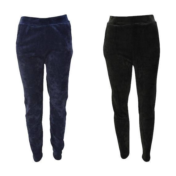 Womens Ladies Striped Cord Full Length Leggings Velvet Stretch Trousers Fleece Lining Up To 10-22
