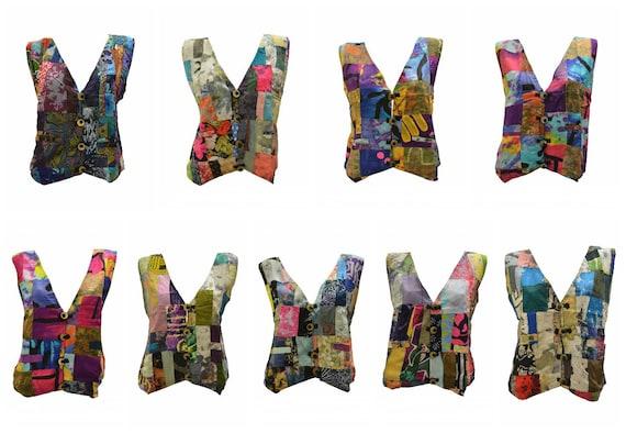 Handmade Upcycled Waistcoats Funky Boho Retro Patchwork Vest Size 14 P61- P69