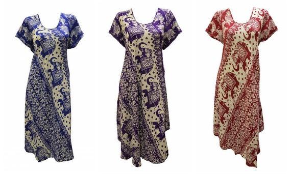 Womens Swing Dress Elephant Print Mandala High- Low Umbrella Pocket Short Sleeves Shift Free Size Up to 18