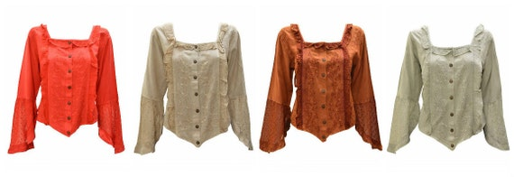 Womens Ladies Boho Tone to Tone Embroidered Button up Blouse Frill Trim Shirred Top Free Size Up To 12