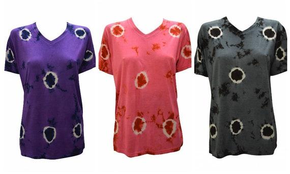 Tie-dye T-shirt Unisex Casual CIrcle Print V- neck Short Sleeve Festival Hippie Top Size M L XL