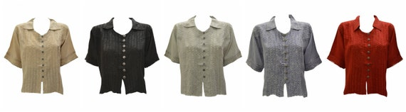 Womens Retro Crop Shirt Collared Embroidered Short Sleeve Boho Blouse Free Size Up To 16