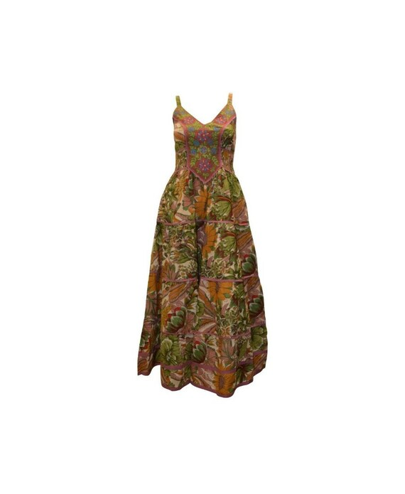 Cotton boho hippie sleeveless floral vintage style embroidered panelled maxi dress free size up to size 14 P8