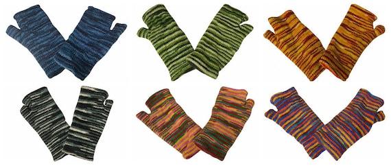 Handmade Knit Handwarmers 100% Wool Winter Striped Fingerless Fleece Lined Gloves One Size P77- P82
