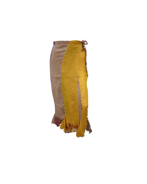 Boho Upcycled Skirt Vintage Style Hippie Patchwork Frilled Hem Wrap around Maxi  Free size up to size 18 P199