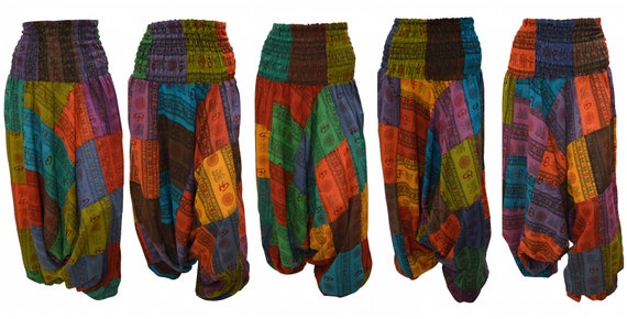 Upcycled Aum Harem Pants Cotton boho Patchwork loungewear Low crotch 2in1 Romper Free Size 8 To 18 P1-P5