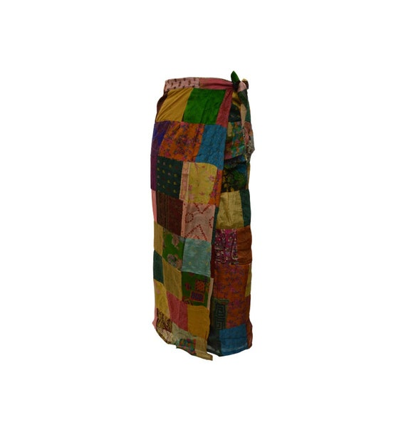 Boho hippie vintage style up-cycled reversible abstract patchwork maxi wrap skirt free size up to size 18 p262