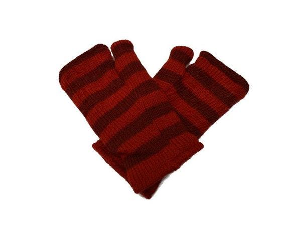 Handmade Knit 100% Wool Winter Striped Fingerless Gloves Warm Fleece Lining Hand Warmers One Size P1