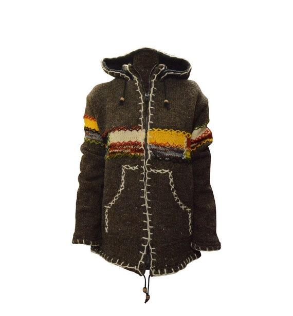 Handmade 100% Wool Chunky Knit Unisex Cardigan Jacket Boho Fleece Lining warm Hoodie Grey Yellow