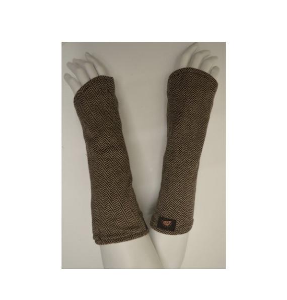 Womens Ladies Organic Cotton Boho Retro Beige Fingerless Reversible Gloves Hand warmers P4
