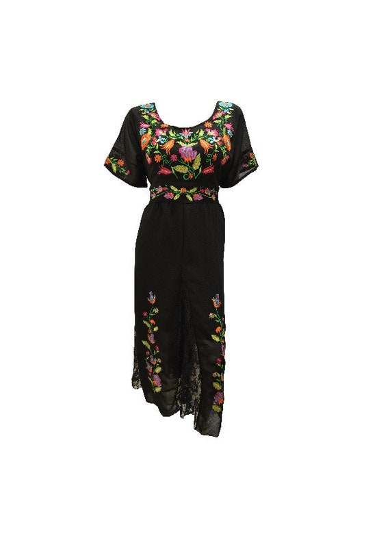 Boho Floral Embroidery Party Dress Lace Panels Gown Midaxi Fit flare M L/XL
