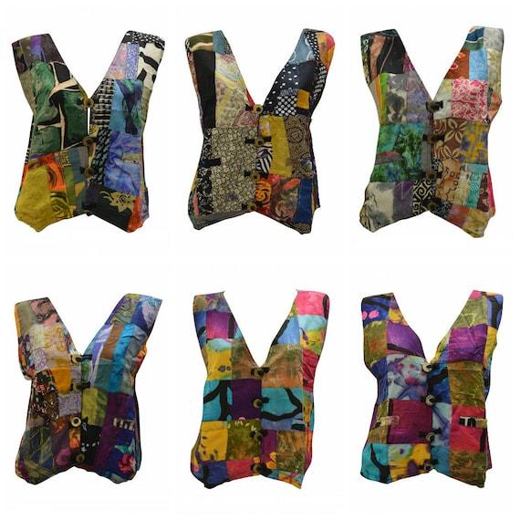 Handmade Upcycled Waistcoats Funky Boho Retro Patchwork Vest Size 12 P19- P24