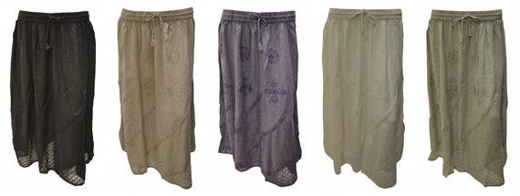 Womens Boho Midi Skirt Floral embroidered Mesh Hem Panel Gypsy Midi Free Size 12-22