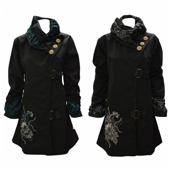 Womens Ladies 100% Cotton Floral Embroidery Patchwork Jacket Warm Fleece Lining Ruched Sleeve Coat S/M L/XL XXL