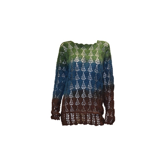 Boho hippie crochet vintage style knitted upcycled long sleeve jumper green multi freesize up to size 18