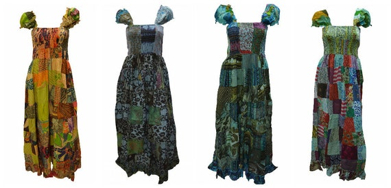100% Cotton Gypsy Dress Boho Vintage Style Patchwork Elasticated Maxi Free size up to 16