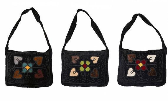 Handmade boho hippie recycled velvet across body shoulder bag embroidered medium