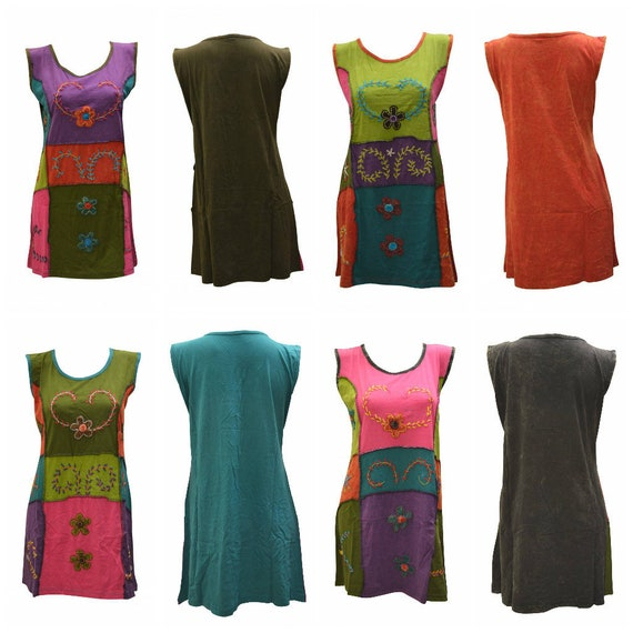 100% Cotton Recycled Tank Dress Boho Upcycled Patchwork Hippie Vest Top Size M, L, XL