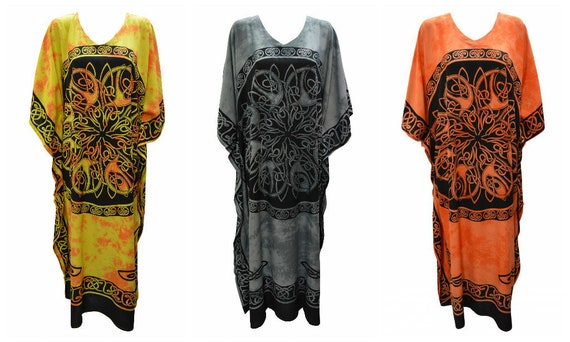 Womens Plus Size Kaftan Handmade Celtic Knot Maxi Boho Batwing Loungewear Free Size Up To 28
