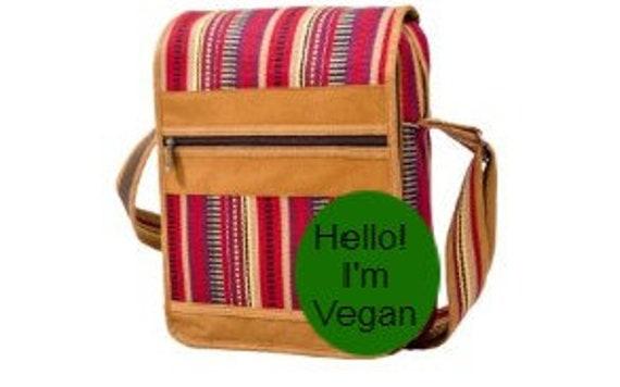 Boho Hippie Vegan Multiple Zip Pocket Shoulder Bag Stripes Cross Body Bag Spacious Satchel Multi