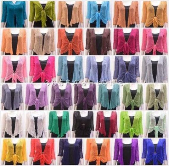Plus Size Boho Knit Shrug Chic Crochet style Cardigan onesize 14 16 18 20
