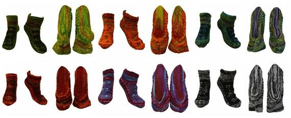 Handmade 100% Wool Socks Boho Chunky Knit Unisex House Shoes Warm Cosy Fleece Lining