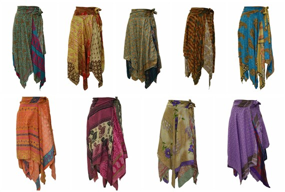 Upcycled Wrap- around Skirt Reversible Vintage Patchwork handkerchief Hem Boho Midi Free Size up to size 18 P159- P167