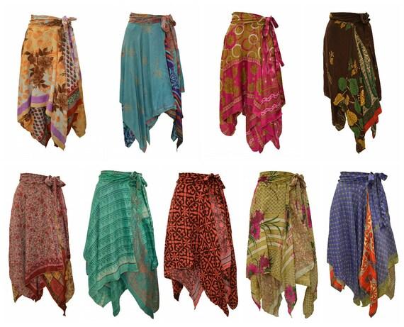 Upcycled Wrap- around Skirt Reversible Vintage Patchwork handkerchief Hem Boho Midi Free Size up to size 18 P307- P315