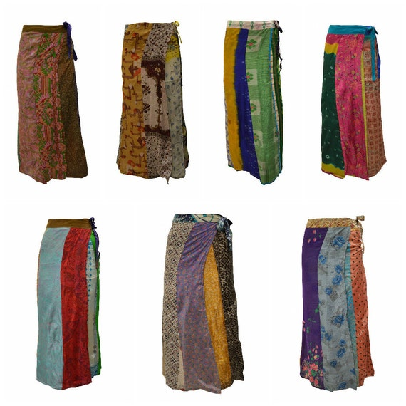 Boho Hippie Vintage Style style Upcycled Reversible Patchwork Maxi Sarong Wrap- around Skirt Free Size up to 18 P164- P170