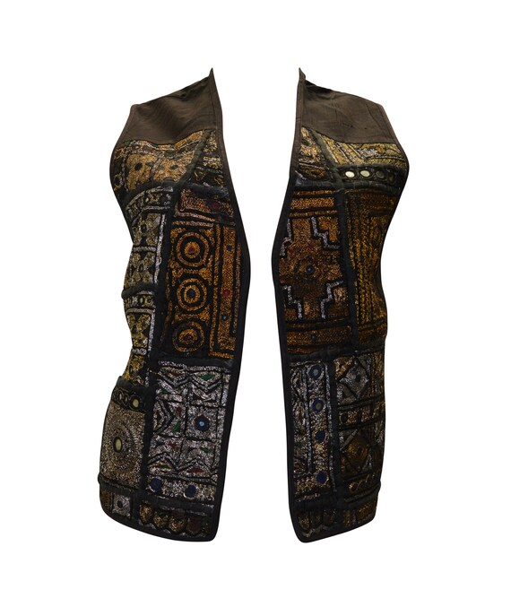 boho hippie ethnic retro vintage style embroidered waistcoat up to size 16