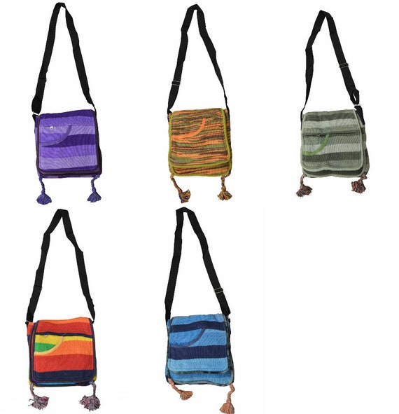 Boho hippie handmade cotton striped knitted nomad ethnic shoulder body sling bag small