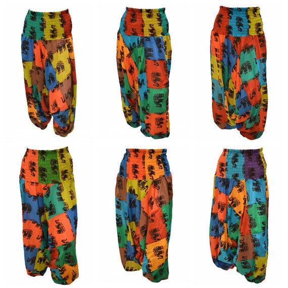Upcycled Cotton Harem Pants Patchwork Elephant boho loungewear Low crotch 2in1 Romper Free Size 8 To 18 P1-P6