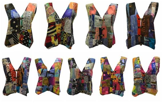 Handmade Upcycled Waistcoats Funky Boho Retro Patchwork Vest Size 14 P25- P33