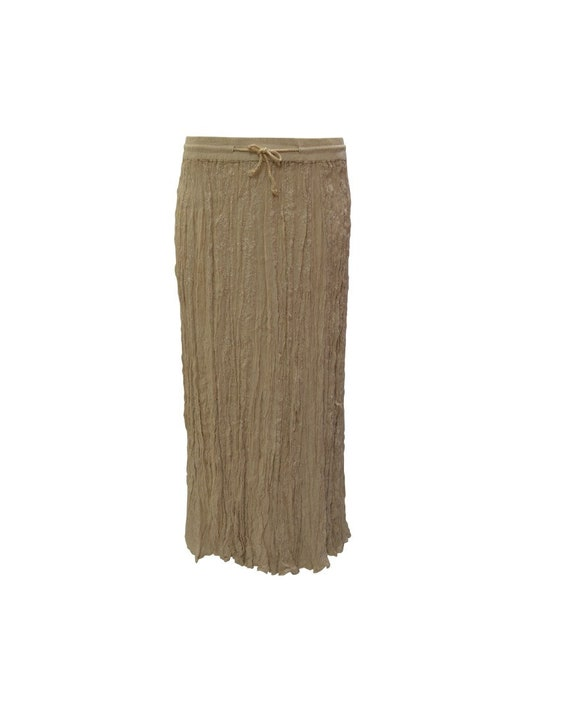 Womens Ladies Boho Gypsy Crinkle Floral Tone To Tone Embroidery Maxi Skirt Free Size Up To 24 Fawn