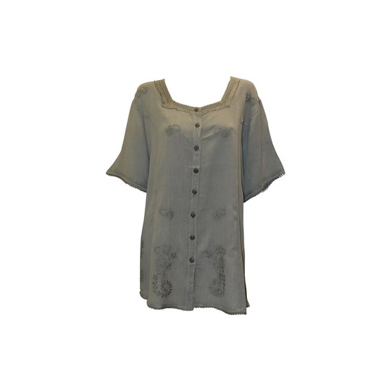 Plus size short sleeve embroidered paisley front buttoned top freesize up to 22 olive green