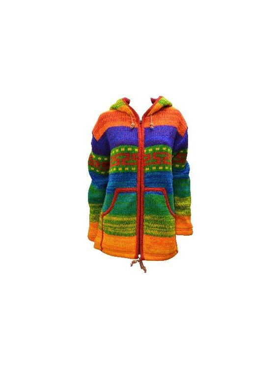 Handmade 100% Wool Cardigan Chunky Knit Unisex Boho Jacket Fleece Lining warm Hoodie Rainbow S/M L/XL