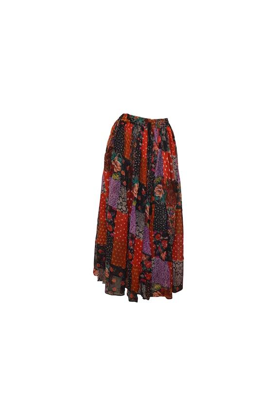 boho hippie vintage ditsy floral patchwork midi skirt freesize up to size 20