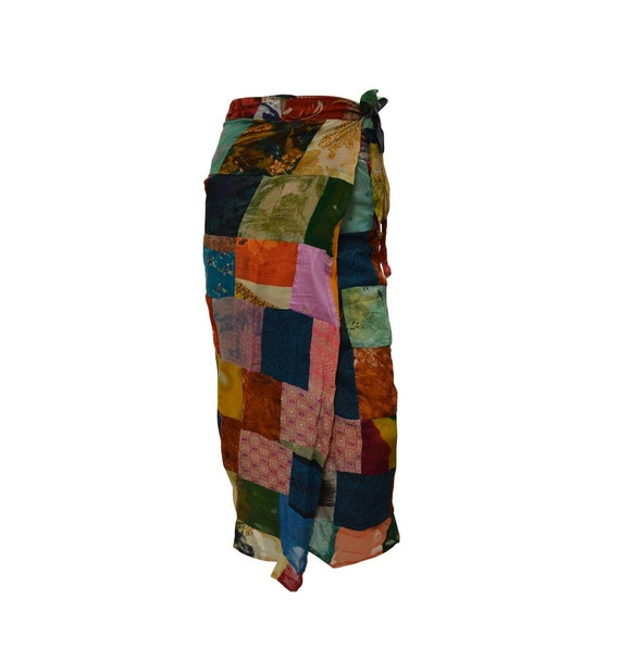 Boho hippie vintage style up-cycled reversible abstract patchwork maxi wrap skirt free size up to size 18 p272