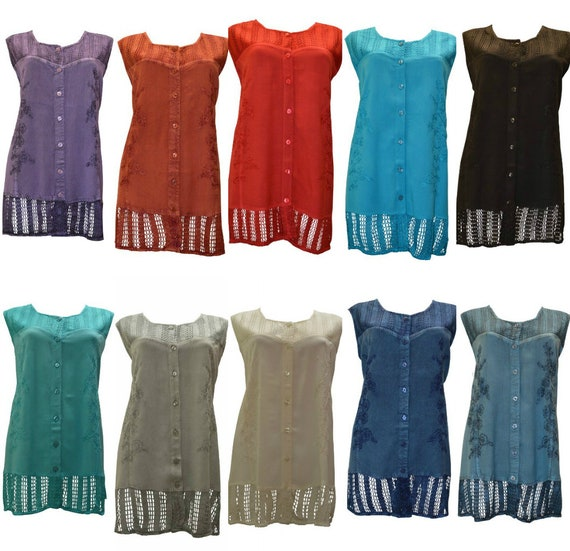 Plus Size round neck embroidered crochet sleeveless front buttoned tunic top Free size 20 - 26